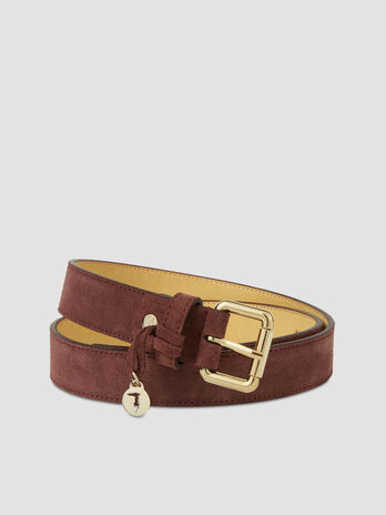 Suede belt with monogram charm