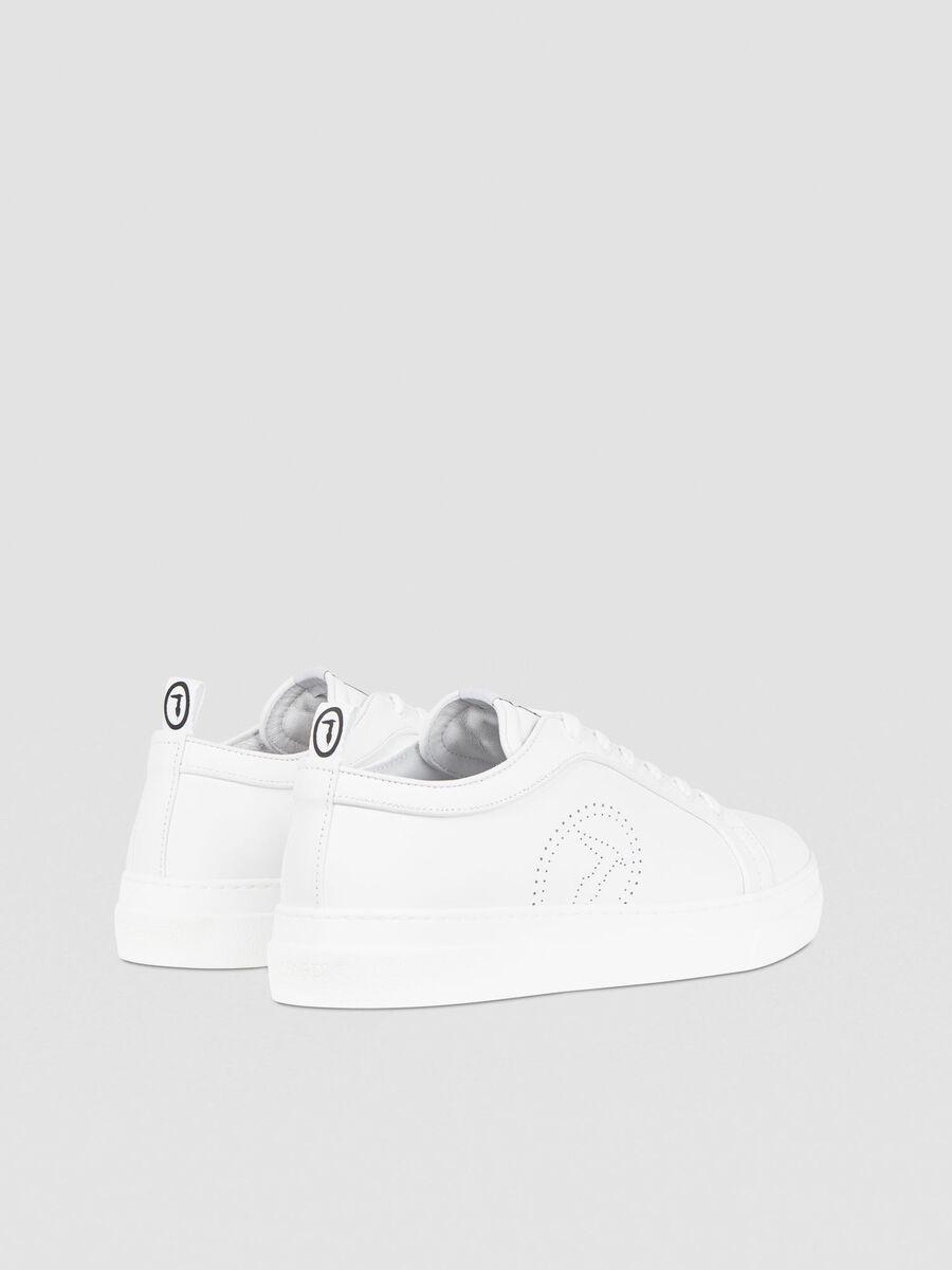 Leather sneakers with monogram detail