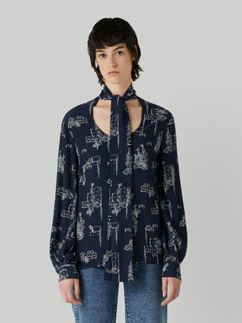 Viscose blouse with pussy-bow neck