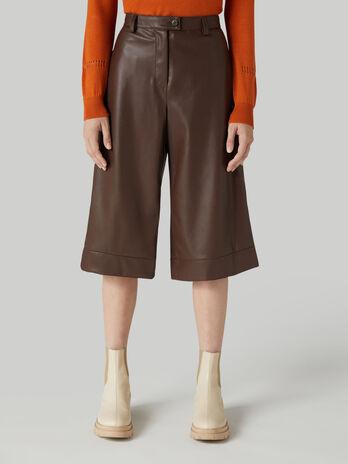 Pantalone bermuda in similpelle