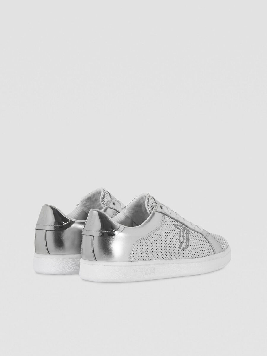Laminated faux leather sneakers with logo