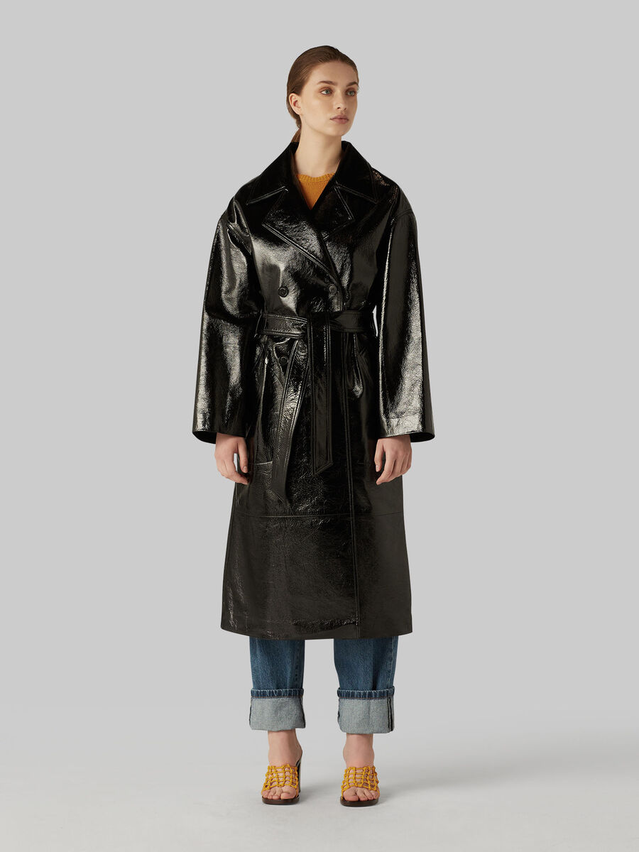 Glossy Naplak leather trench coat