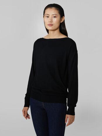 Pullover mit Bateau Ausschnitt aus Viskose