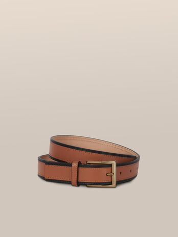 Two tone leather belt