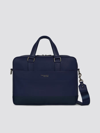Medium faux leather briefcase with shoulder strap