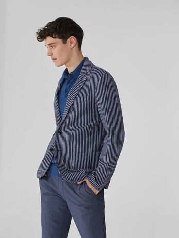 Blazer slim fit in jersey a righe