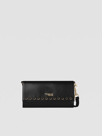Small T-Easy Shine clutch in faux leather with crystals
