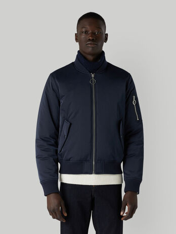 Technical satin bomber jacket with zip