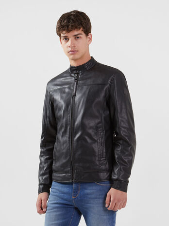 Regular fit faux leather biker jacket