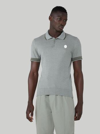 Poloshirt im Regular-Fit aus gerippter Baumwolle mit Seide