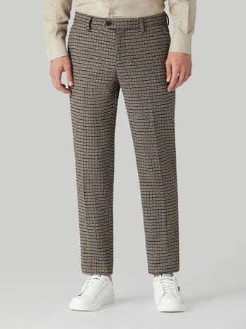 Chequered Stamford-fit trousers in cotton and wool