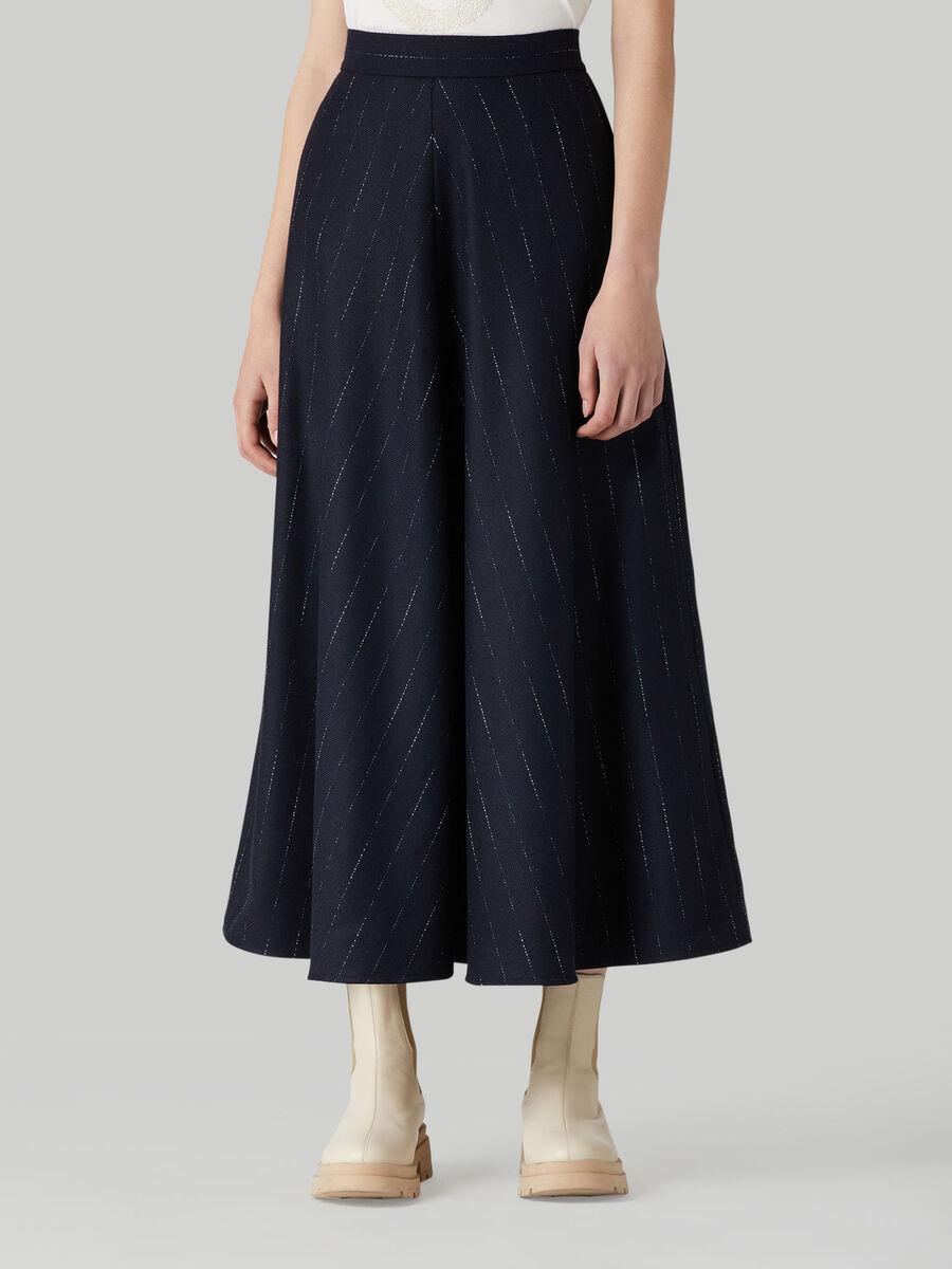 Long wool-blend pinstripe skirt