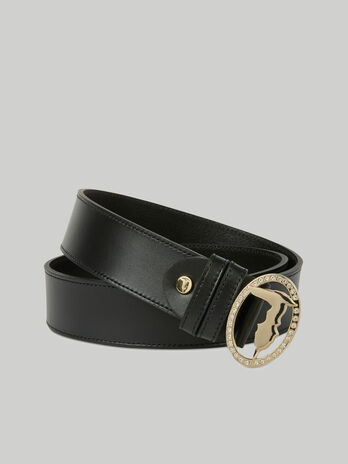 Leather belt with crystal adorned buckle