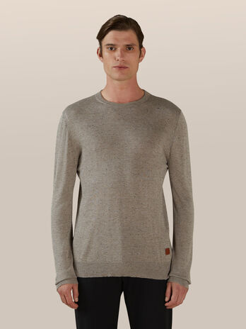 Slim fit cotton and silk blend pullover