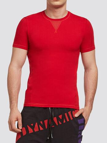 T Shirt aus Stretchbaumwolle mit Logo Patch