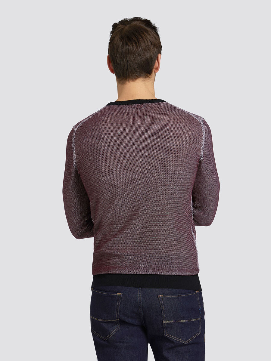 Slim fit two tone pullover in pure cotton