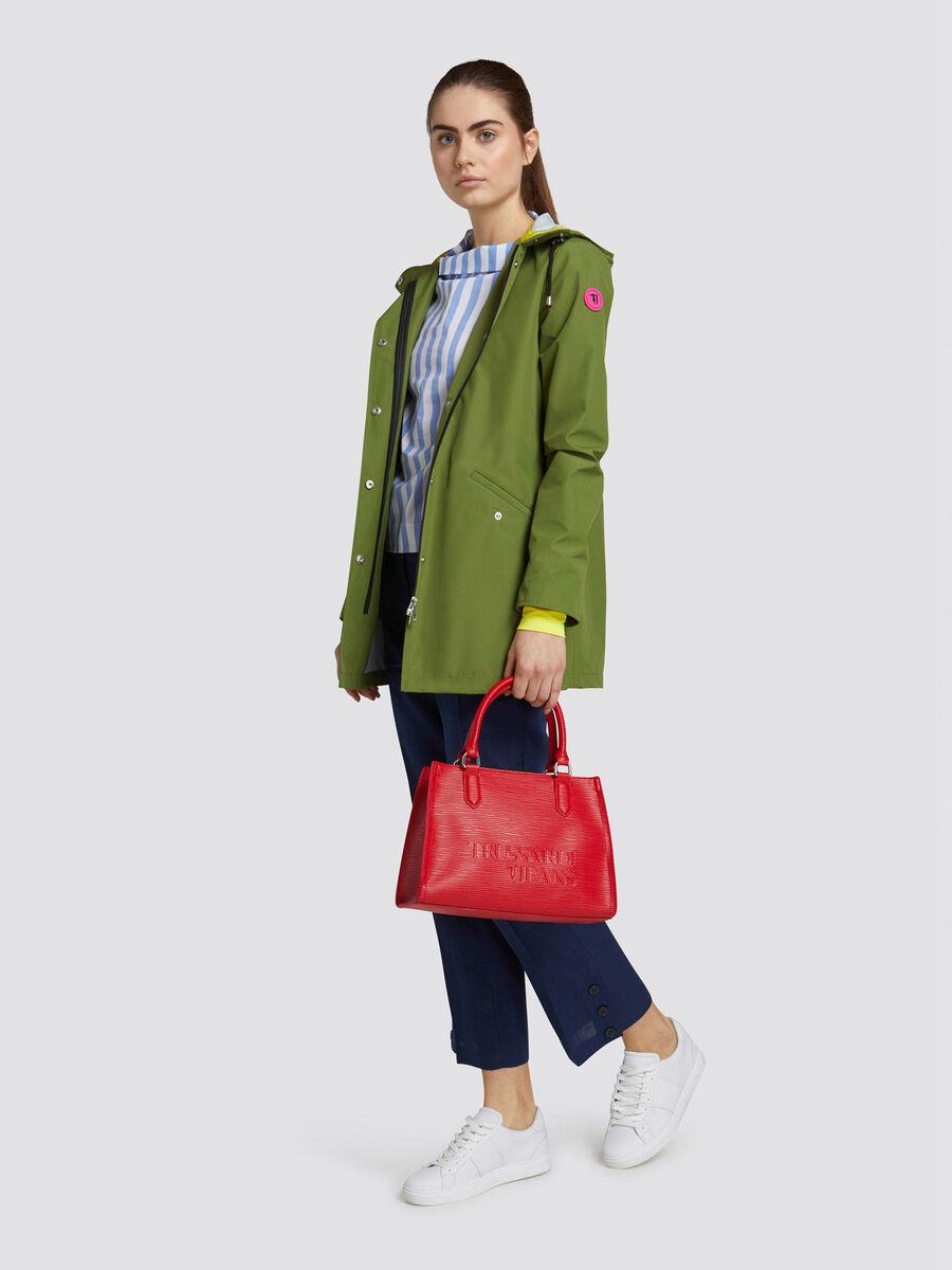Saffiano T-Tote midi bag lettering and shoulder strap