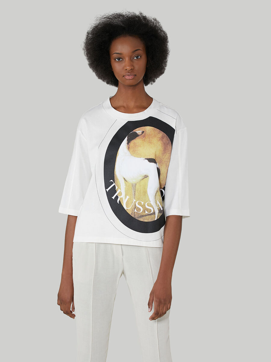T-shirt over fit in jersey di cotone con maxi stampa