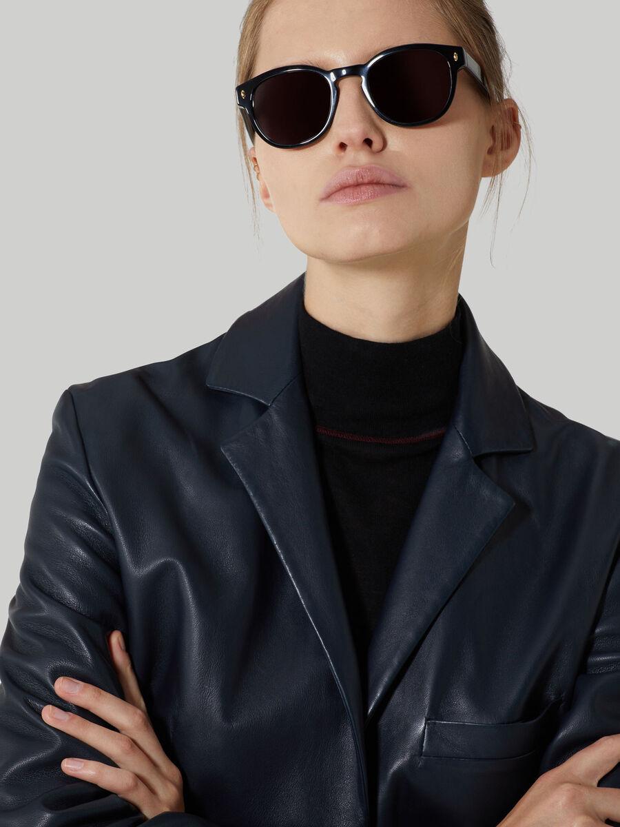 Round black acetate sunglasses