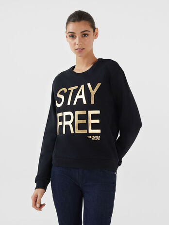 Regular fit cotton sweatshirt with lettering