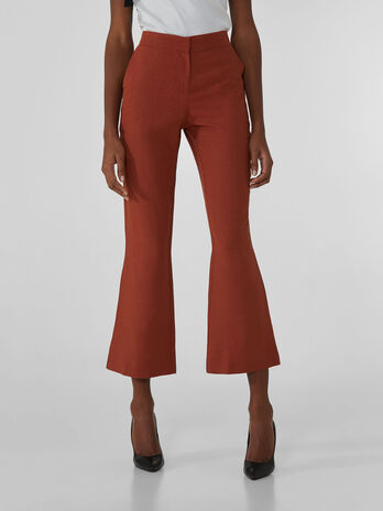 Cropped trousers in viscose and linen