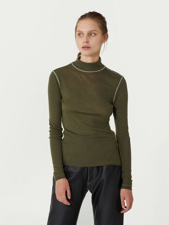 Wool jersey polo neck pullover