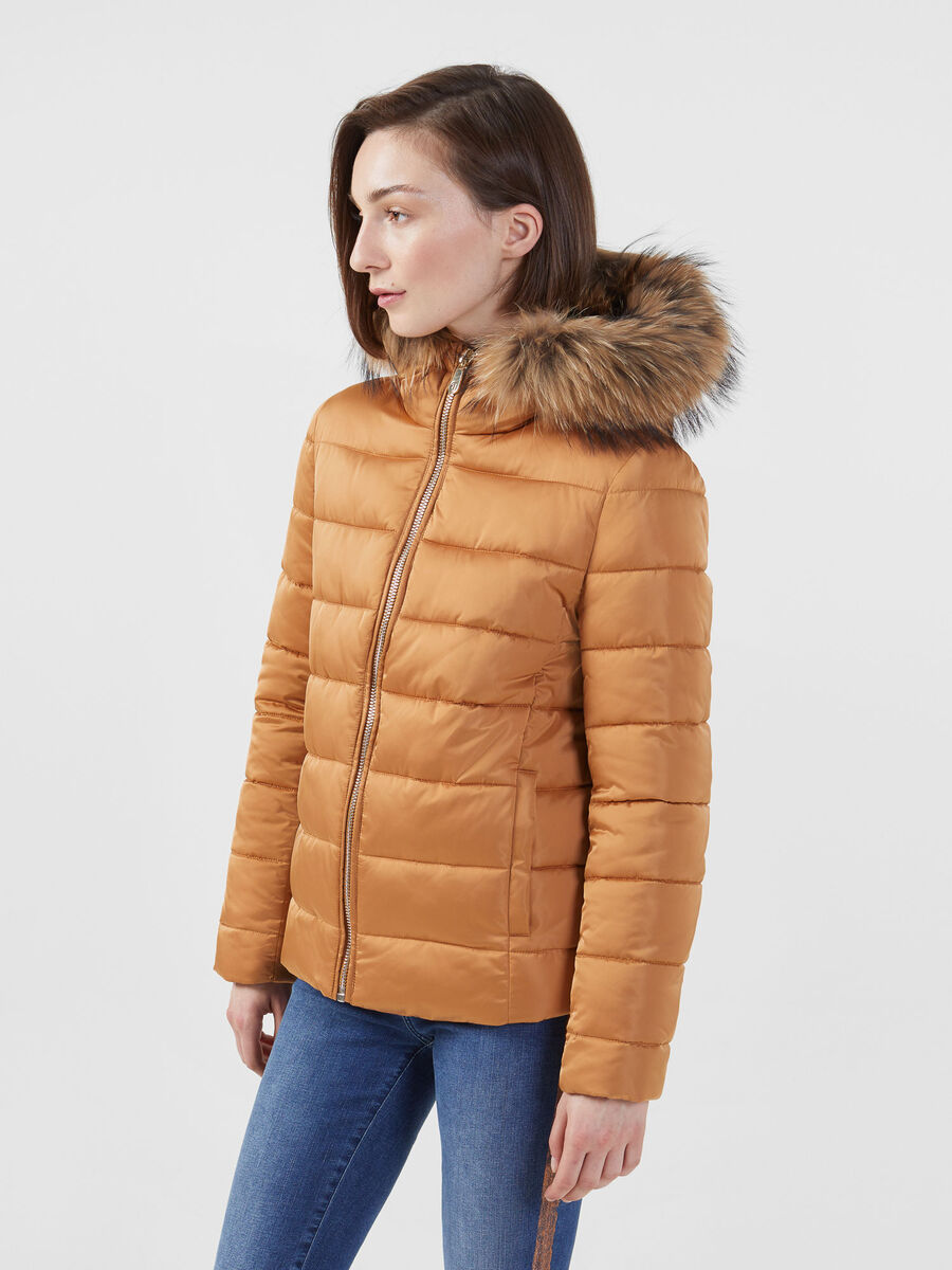 Regular fit nylon satin down jacket with fur