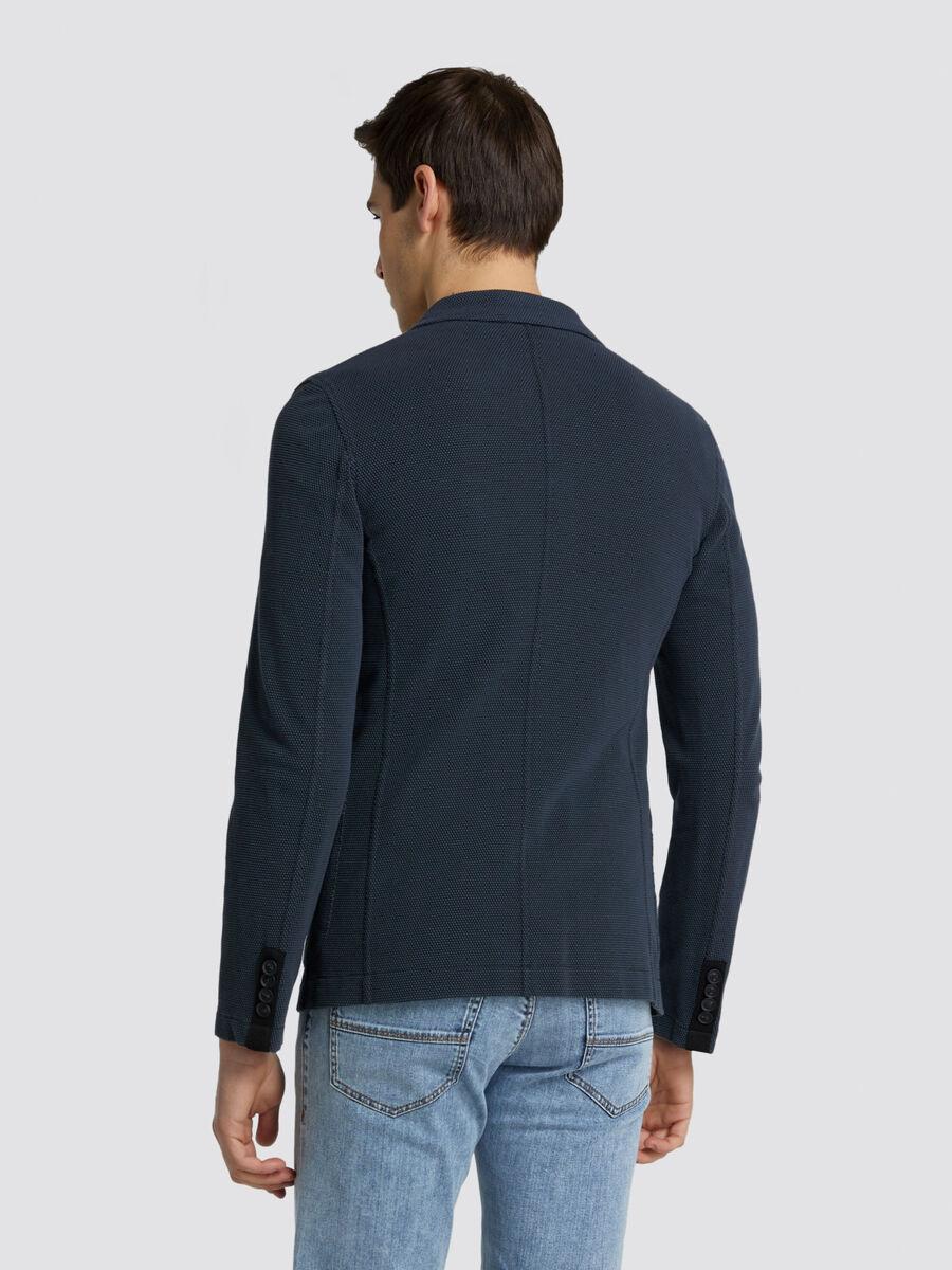 Blazer slim fit in jersey effetto maglia