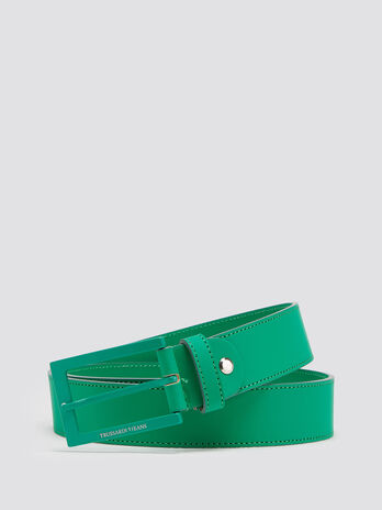 Smooth rubberised belt with colourful buckle detail