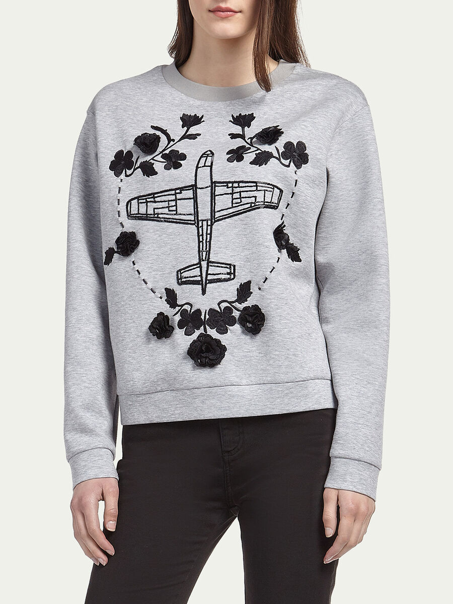 Sweatshirt with airplane and floral embroidery