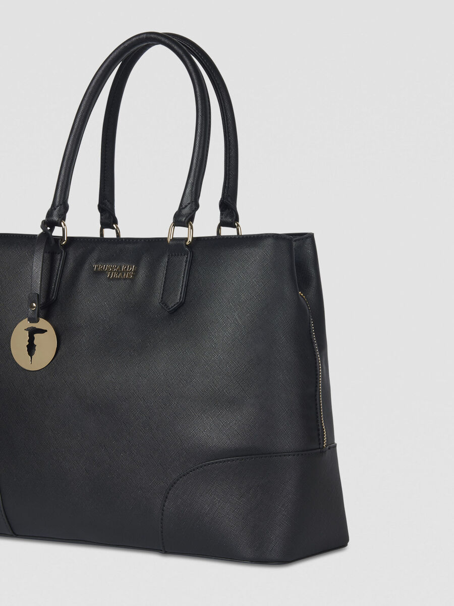 Large Bella tote bag in faux saffiano leather