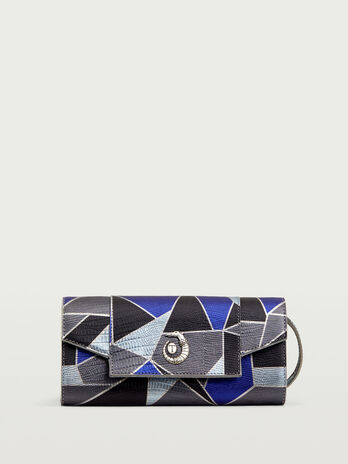 Mosaic printed leather pochette