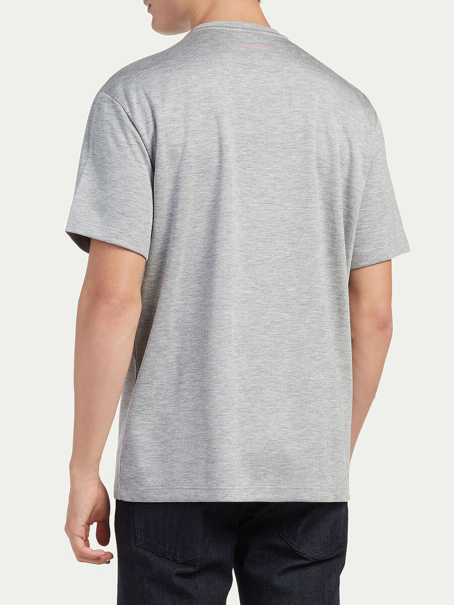 Oversized compact viscose jersey T shirt with print