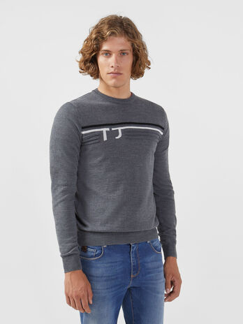 Pullover regular fit in misto lana con logo