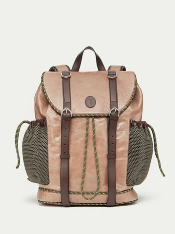 Tresor leather backpack with mesh detail