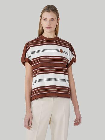 T-Shirt im Boxy-Fit aus gestreiftem Pikee
