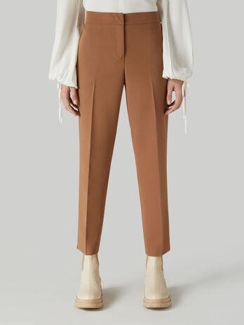 Pantalone cropped in viscosa tecnica
