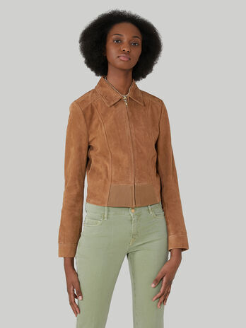 Cropped suede jacket