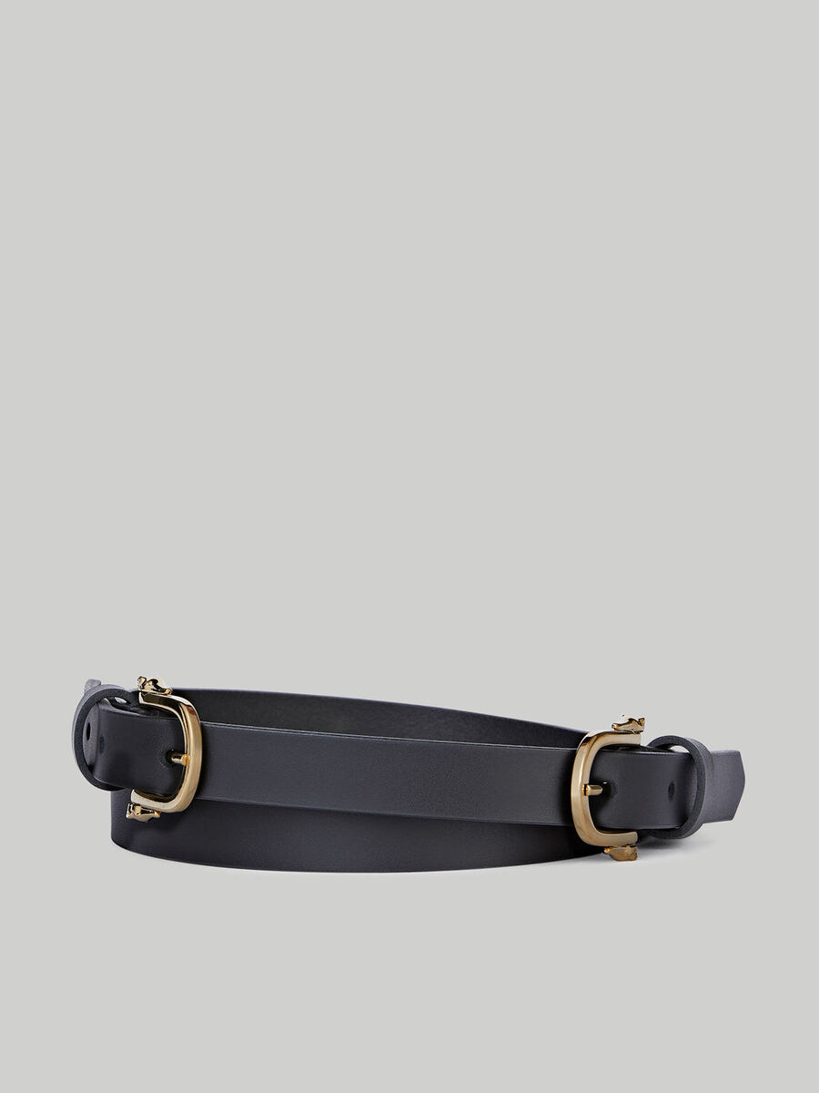 Leather belt with double Levriero buckle