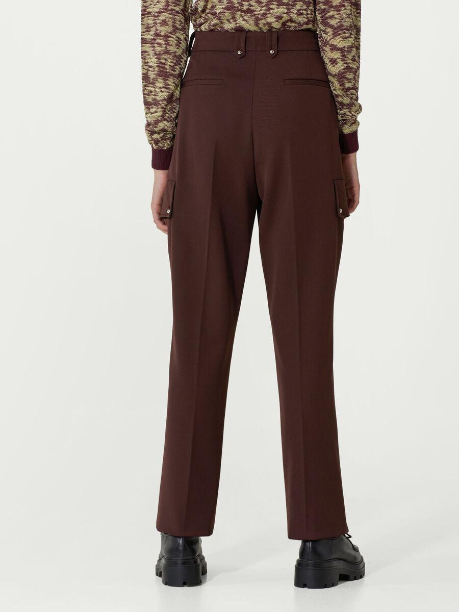 Wool gabardine cargo trousers