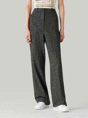 Pantalon en laine melangee a micro carreaux