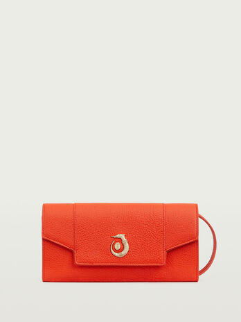 Oriente leather clutch bag with flap