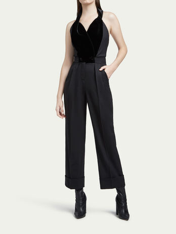 Stretch wool twill jumpsuit