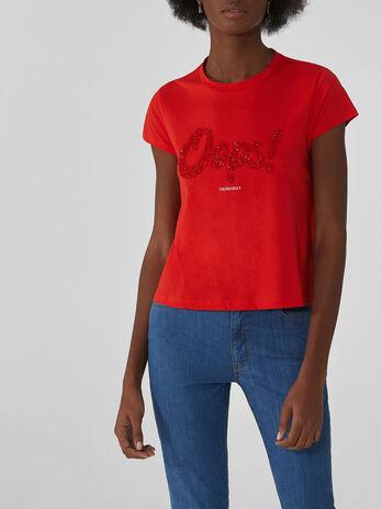 T-shirt coupe cropped en coton avec strass