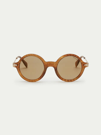 Round sunglasses with pearly effect