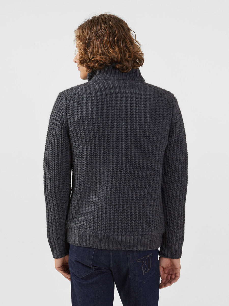 Regular fit zip up wool blend cardigan