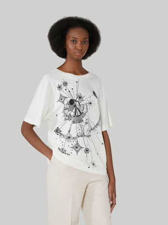 Boyfriend-fit printed T-shirt in pure cotton jersey