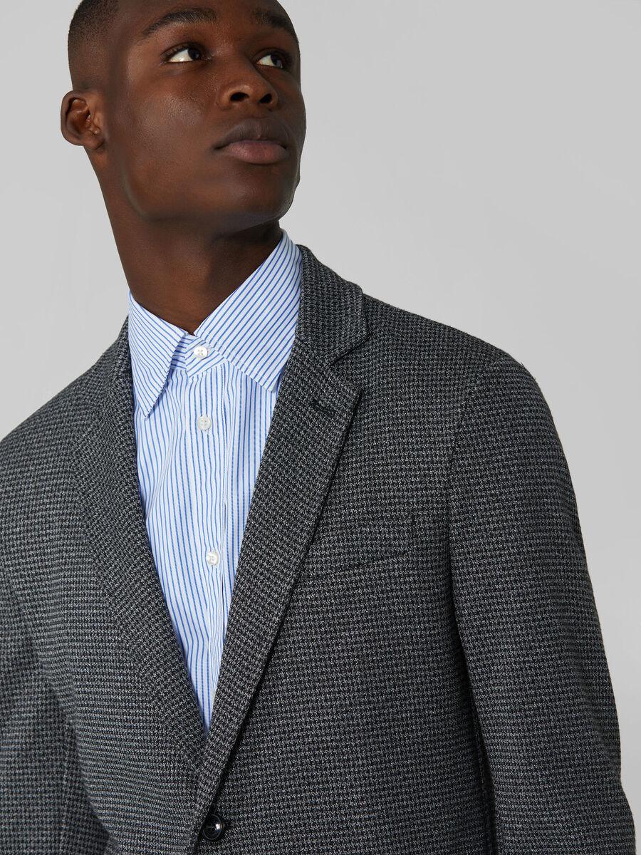 Slim fit patterned jersey blazer