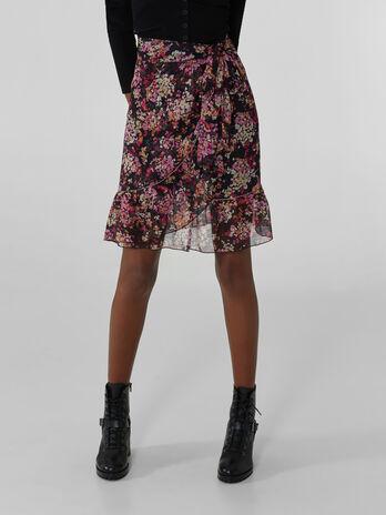 Mini-jupe en georgette a imprime fleurs