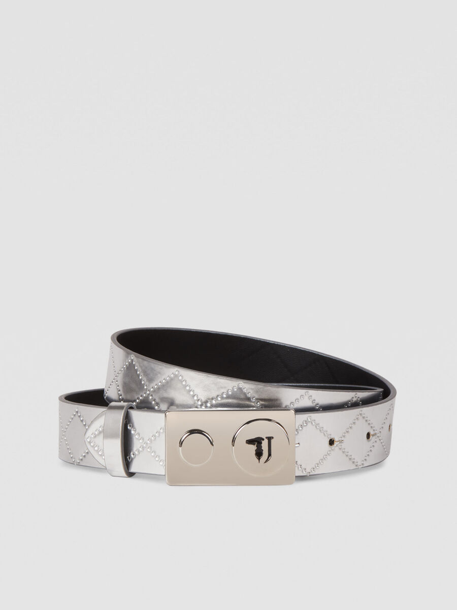With Love belt in quilted metallic faux leather